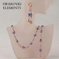 Boucles D'oreille collier bracelet Swarovski® Elements bleu saphir  4 pièces