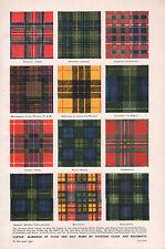 1947 DOUBLE-SIDED PRINT TARTEN PLAID & KILT SCOTTISH CLANS REGIMENT MACDUFF etc