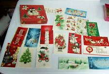 Vintage Christmas Cards Unused in Box - Nationally Famous Snowman Angels Santa