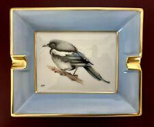 Hermes Aschenbecher Cendrier Ashtray Porzellan Vogelmotiv Goldrand Handbemalt