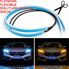 2 x Sequential 30CM Slim Amber Flexible LED DRL Turn Signal Strip Car Headlights
