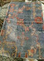 Pottery Barn Dara Lumbar Pillow Cover Blue 16x26 Persian Velvet Rug Floral NEW