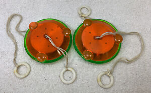Vintage Lot of 2 FLYING SAUCER STRING SPINNER GREEN ORANGE AS IS FOR PARTS