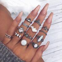 12PCS/Set Stacking Boho Jewelry Tribal Ethnic Fire Opal Finger Rings Ring Set