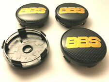 4x BBS Sport 60mm Wheel Centre Caps Black / Gold Carbon Center Caps Base (Black)