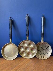 Vintage Farmhouse Brass Egg Pan, Sieve & Frying Pan Wood Handles Cottagecore