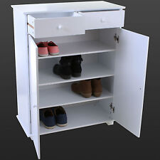 White Wooden Shoe Cabinet Storage Rack Unit Organiser Bathroom Drawer  Cupboard