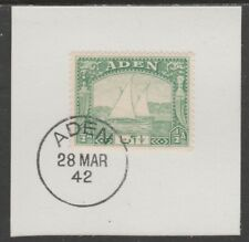 909513  ADEN 1937 DHOW 1/2a  on piece with  MADAME JOSEPH FORGED POSTMARK
