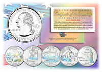2008 US Statehood Quarters HOLOGRAM *** 5-Coin Complete Set *** w/Capsules & COA
