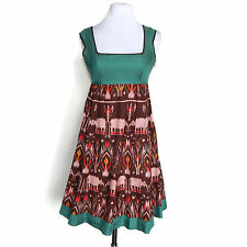 DIORORE Anthropologie Ikat March of Elephant Ethnic Print Sleeveless Dress sz 2