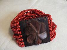 Collectible Stretch Bracelet Wood 16 Strand Orange Beads 2 Wide UNIQUE