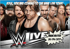 WWE Live Wrestling Tour Concert 2017 Tickets Card A5 Personalised own words