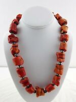 Vintage Heavy Dyed Red Coral Statement Necklace Silver Color Metal Toggle Clasp