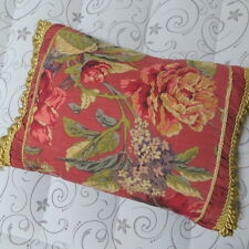 Croscill Serena Throw Pillow Gold Fringe Trim Red Floral Rectangular Boudoir