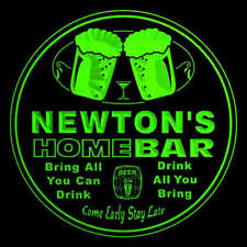 4x ccp1367-g NEWTON'S Home Bar Beer Engraved Coasters