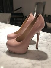 YVES SAINT LAURENT Tribute Two Textured-Leather Pumps In Pink/Blush Size 37.5