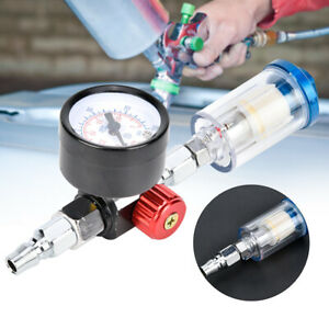 Mini Air Pressure Regulator Gauge Spray Gun & In-Line Water Trap Oil Filter