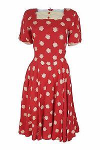 VALENTINO Vintage Miss V Red Floral Print Skater Dress (38)