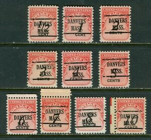 Danvers MA 225 precanel on ten 1959 Postage Dues Half to 10 cent, Scott J88 -J97