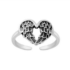Sterling Silver 925 Adjustable Jewelry Oxidized Wings Toe Ring Face Height 10 mm