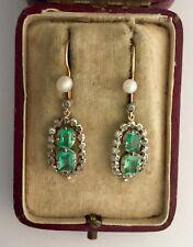 Una splendida coppia di Rose Georgiano Diamante Taglio & Emerald Cluster Orecchini CR 1800