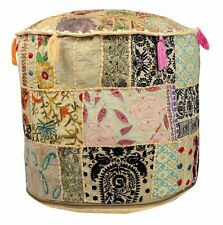 22 Inch Handmade Beige Patch Work Embroidered Ottoman Cover Indian Pouf