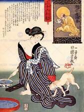 Retrato Utagawa Kuniyoshi Mujer Geisha Japón CC907 cartel impresión de arte de gato