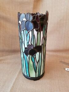 """Vintage Iris Stained Glass Candle Holder in Greens and purple 11""""x4"""" unique"""
