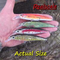 4 REALSCALE fishing minnow savage lure pike bass chub perch trout plug gear bait