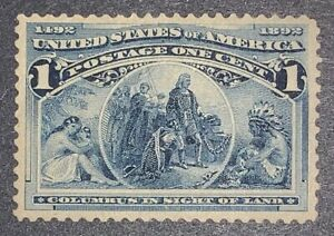 """Travelstamps: 1893 US Stamps Scott # 230, """"In Sight of Land """", mint, No Gum"""