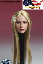 1/6 female head sculpt Blonde straight hair SDH004A Phicen hot toys❶US IN STOCK❶