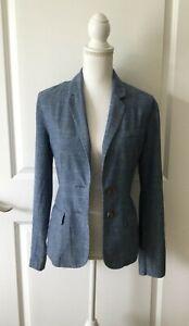 Merona Target Women's Schoolboy Preppy Chambray Blazer Jacket~NAVY~Cotton~M~EUC