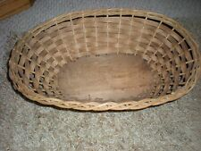 Vintage Wicker Basket Oval Large Collectibles Decor 13 by 17 Old Decorative Old