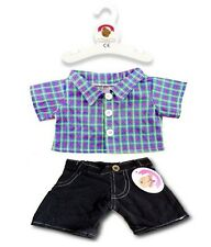Teddy Bear Clothes fits Build a Bear Teddies RGB Checked Shirt Blk Cords Outfit