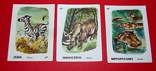 3 CHROMOS ECOLE BON POINT 1960-1970 ANIMAUX AFRIQUE HIPPOPOTAME ZEBRE RHINOCEROS