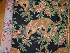 """LEOPARD FLORAL Print Upholstery Tapestry Fabric  39"""" x 54"""" Remnant"""