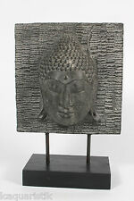 Buddha Büste 35 cm Kopf massiv Statue Steinguss Figur Tempel Skulptur grau