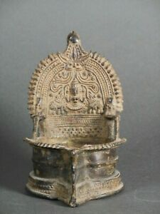 Oil Lamp, with image of Lakshmi vintage Indian ritual alter piece 5 1/4 inches