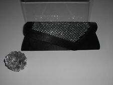 Black Satin Evening Party Studded Clutch Bag with Chain (553)