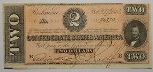 1864 $2 Confederate States of America Judah P Benjamin AU T-70