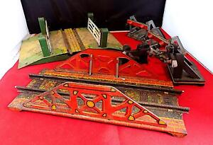 Vintage Tin + Wood O Gauge Railway Track Accessories x 6, Hornby & Mettoy.
