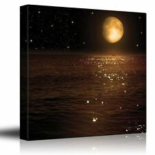 Gold Moon and Bright Stars Illuminating the Ocean at Night - Canvas Art - 16x16