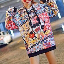 Mickey Mouse Women Sweatshirt Long Loose Tops Capuche Hoodies Dress Streetwear