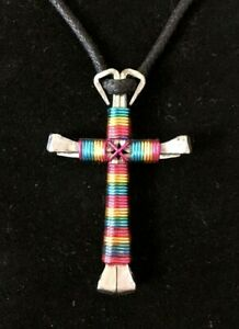 Colorful Striped Handcrafted Horseshoe Nails Copper Wire Cross Necklace