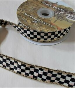 """MacKenzie Childs Ribbon Courtly Check 1"""" Gold Wire Edge by the Yard"""