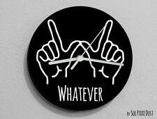 Whatever Hand Symbol  / Round Black - Wall Clock