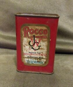 RARE Antique Vintage Spice Tin Rocco JWG Janesville grocery Wisconsin Turmeric