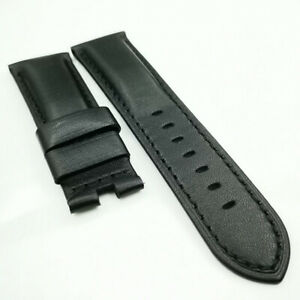 26mm Black Calf Waxy Leather Deppyment Watch Band Strap for PAM Wristwatch