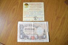 BANCONOTA LIRE 100 MATRICE DECRETO 7 7 1921 NC certificata MB/BB SUBALPINA