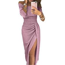 Damen Sexy Schulterfrei Langarm Abendkleid Party Teilt Maxikleid Bodycon Kleider